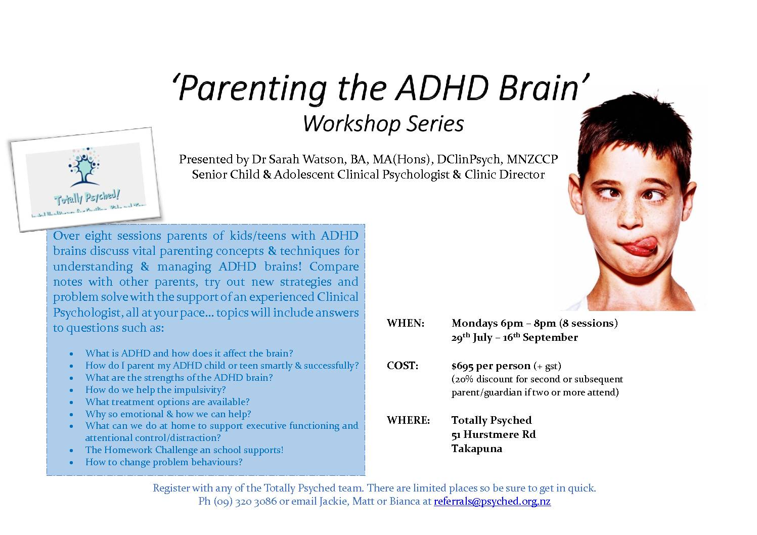 Parenting The ADHD Brain Workshop Series - Next one starting Term 3, July 29th 2019. Be in quick! | Totally Psyched